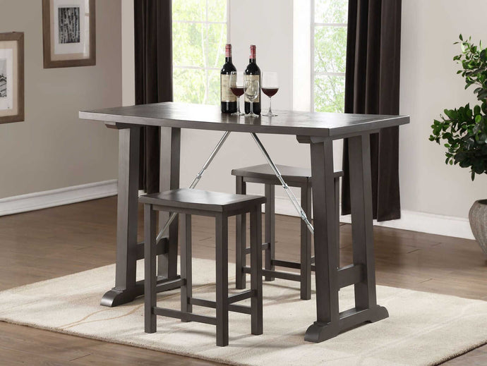 Acme Filbert Gray And Oak Wood Finish 3 Piece Bar Table Set