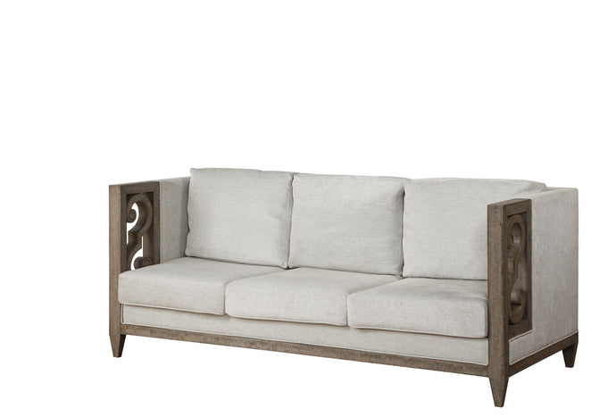 Acme Artesia Gray Fabric And Wood Finish Sofa
