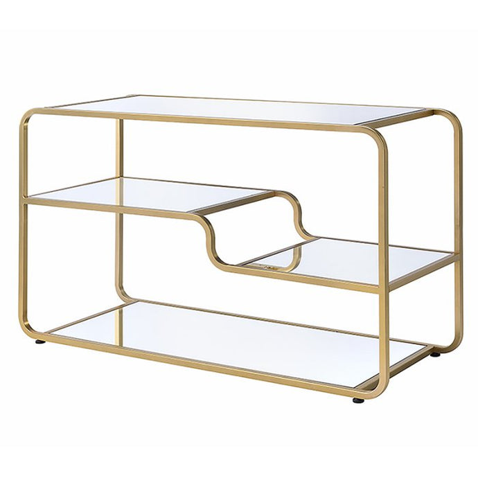 Acme Astrid Gold Metal And Glass Finish TV Stand