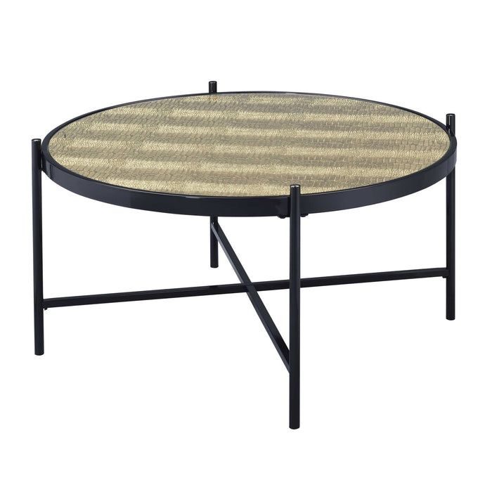 Acme Bage II Black Metal And Glass Top Finish Coffee Table