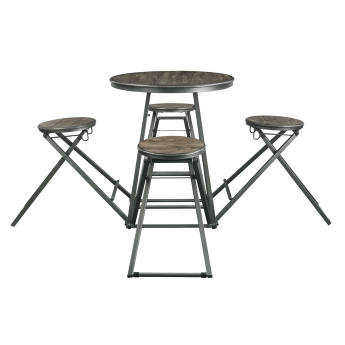 Acme Blaze Gray And Oak Metal Wood Finish 5 Piece Bar Table Set