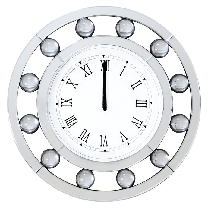 Acme Boffa White Mirrored Finish Clock