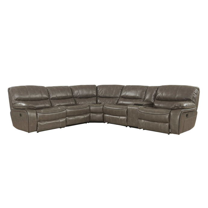 Acme Brax Brown Leather Finish Recliner Sectional Sofa
