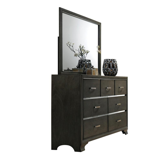 Acme Carine II Gray Wood Finish Dresser With Mirror