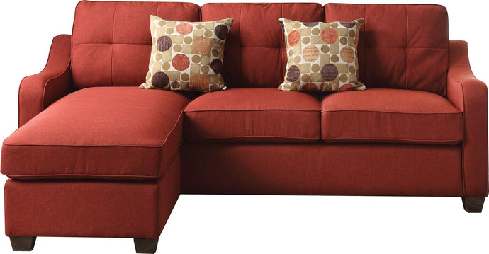 Acme Cleavon II Red Linen Finish Sectional Sofa