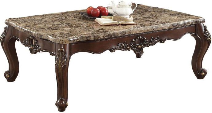 Acme Devayne Brown Wood And Marble Top Finish Coffee Table