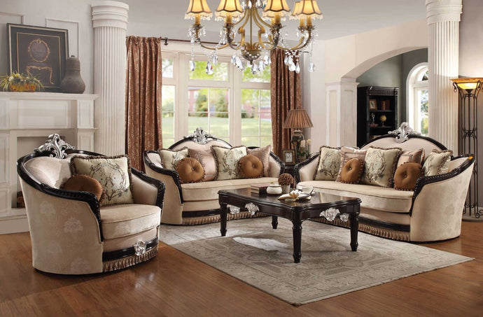 Acme Ernestine Tan Fabric Finish 3 Piece Sofa Set