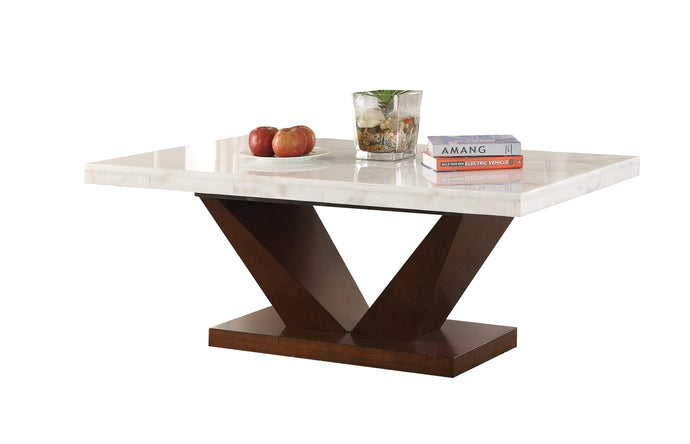 Acme Forbes White Marble Top And Wood Finish Coffee Table