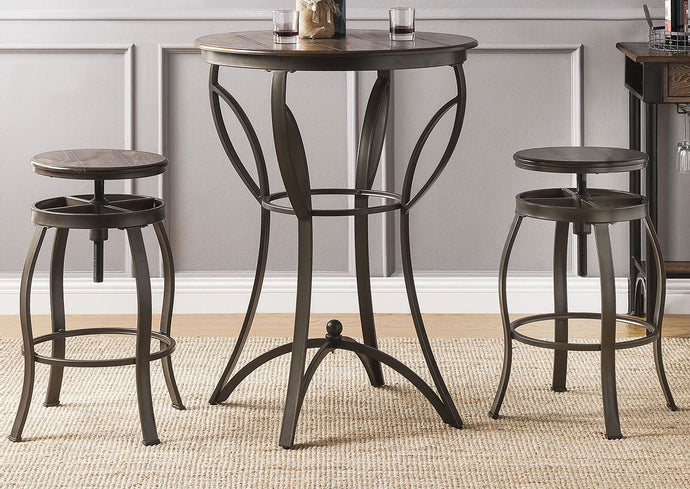 Acme Gavino Walnut Metal And Wood Finish 3 Piece Bar Table Set