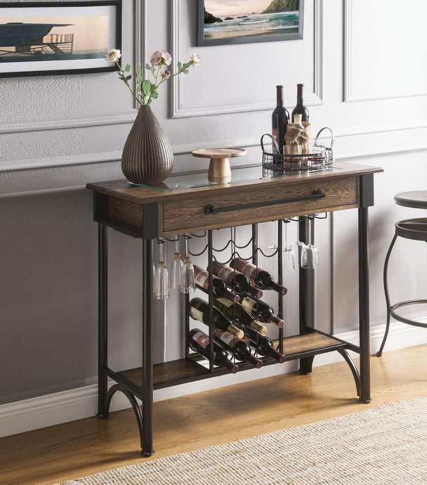 Acme Halyn Walnut Metal And Wood Finish Bar Table