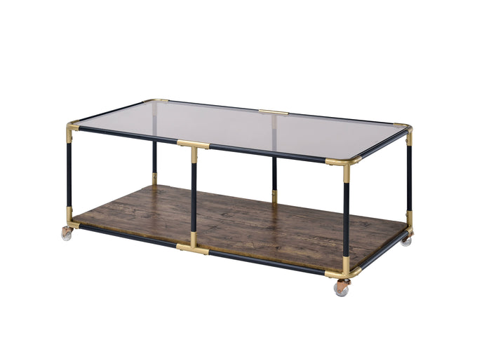 Acme Heleris Black And Gold Metal Finish Coffee Table