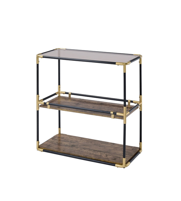 Acme Heleris Black And Gold Metal Finish Console Table