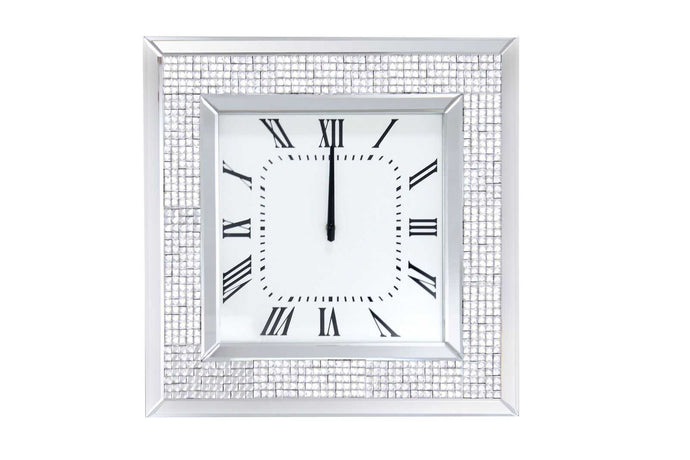 Acme Iama White Mirrored Finish Wall Clock