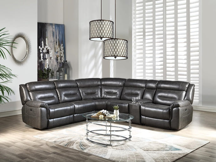 Acme Imogen Gray Faux Leather Finish Sectional Sofa