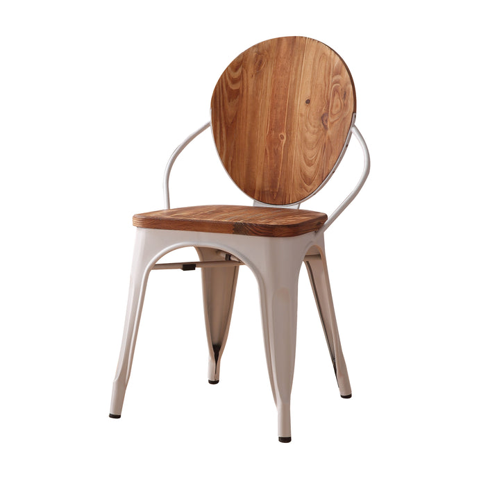Acme Jakia III Natural Wood And Metal Finish 2 Piece Dining Chair