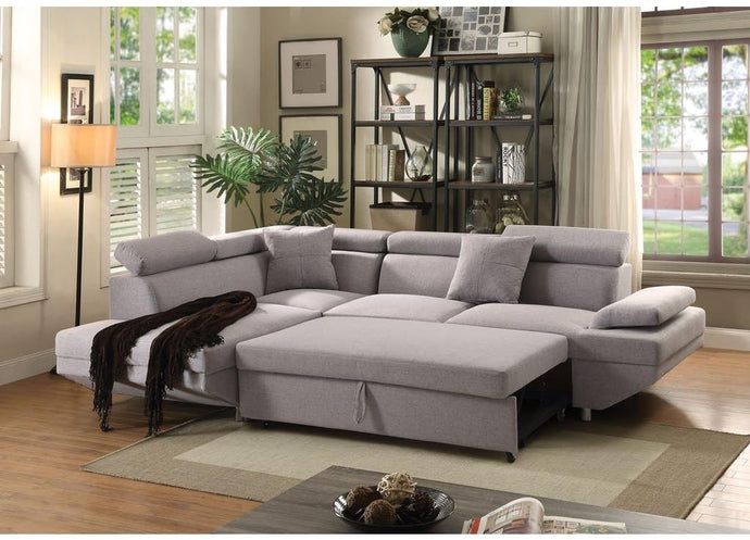 Acme Jemina Gray Fabric Finish 2 Piece Sectional Sofa
