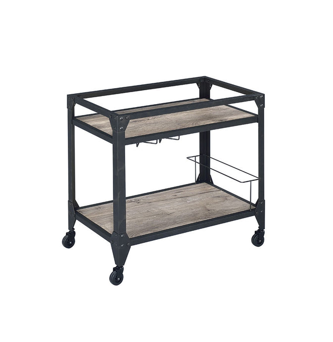 Acme Jorgensen Rustic Oak Wood Finish Serving Cart