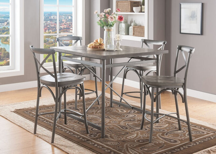 Acme Kaelyn II Gray Oak Metal And Wood Finish 5 Piece Bar Table Set