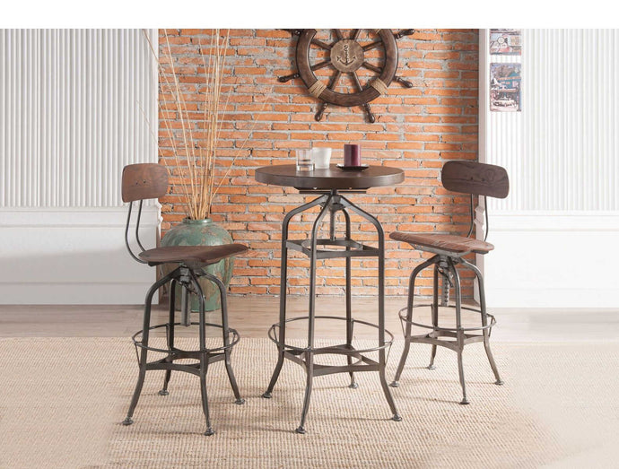 Acme Kaeso Walnut Wood And Metal Finish 3 Piece Bar Table Set