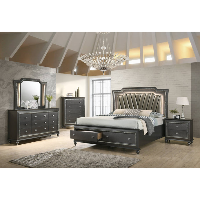 Acme Kaitlyn Metalic Gray PU Leather Finish 4 Piece Eastern King Bedroom Set
