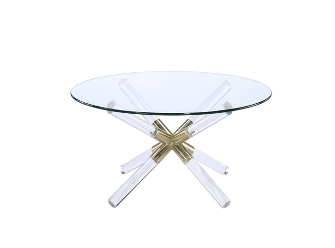 Acme Kalani Gold And Clear Glass Top Finish Round Coffee Table