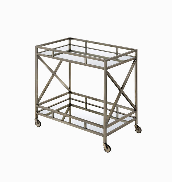 Acme Kristensen Antique Gray Metal And Mirror Finish Service Cart