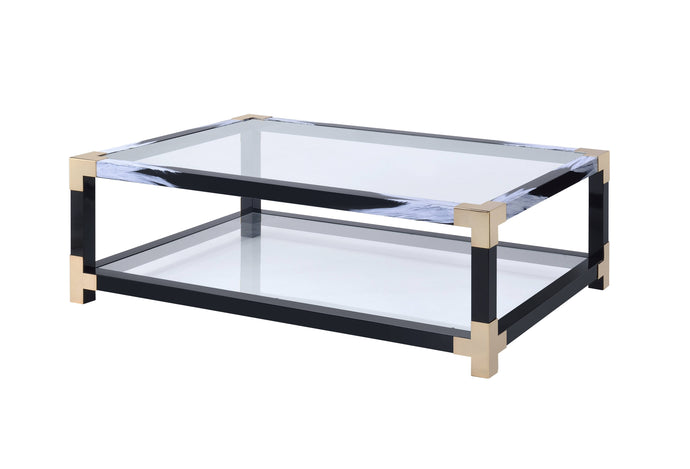 Acme Lafty White And Black Glass Finish Coffee Table
