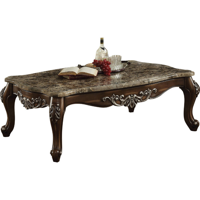 Acme Latisha Antique Oak Wood Marble Top Finish Coffee Table