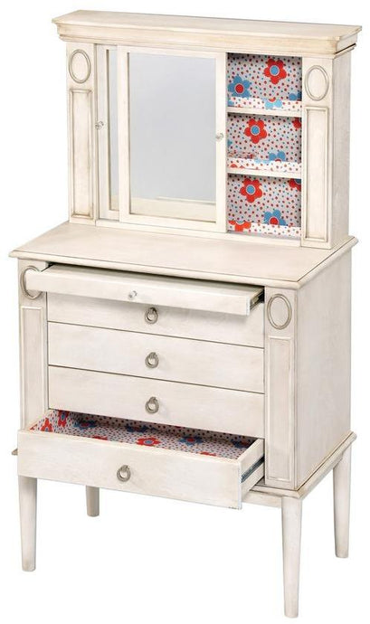 Acme Laven Antique White Wood Finish Jewelry Armoire