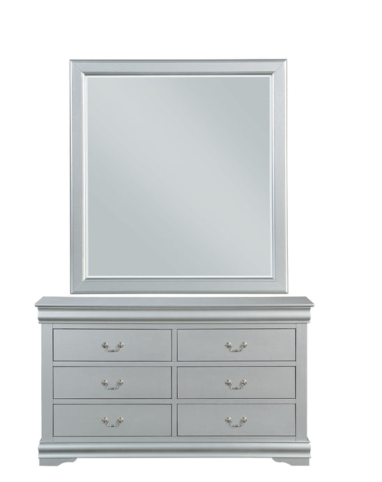 Acme Louis Philippe Platinum Wood Finish Dresser With Mirror