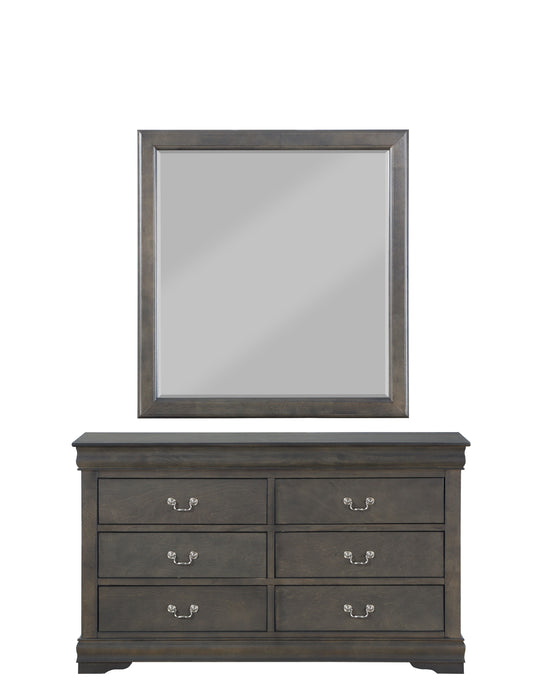 Acme Louis Philippe Dark Gray Wood Finish Dresser With Mirror