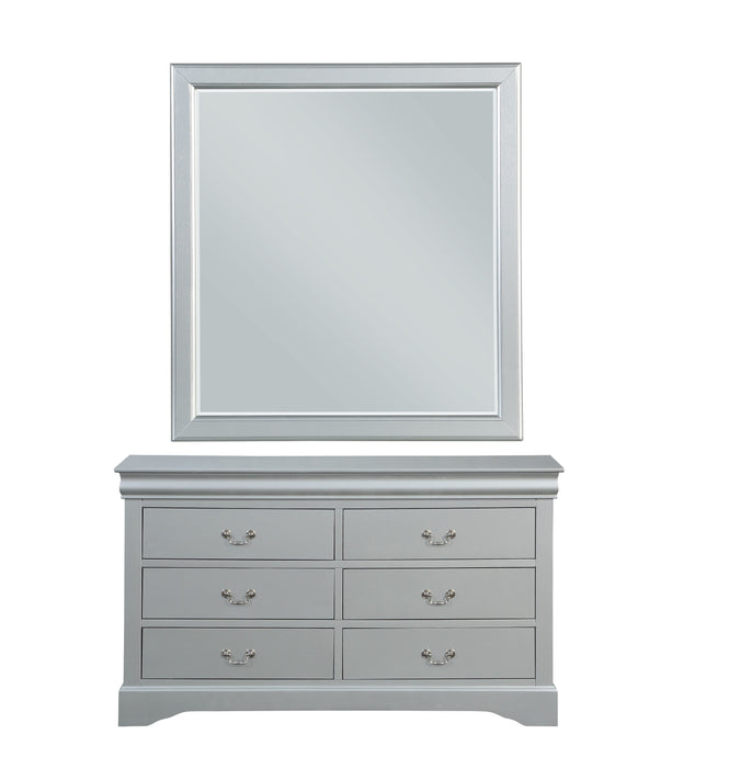 Acme Louis Philippe III Platinum Wood Finish Dresser With Mirror