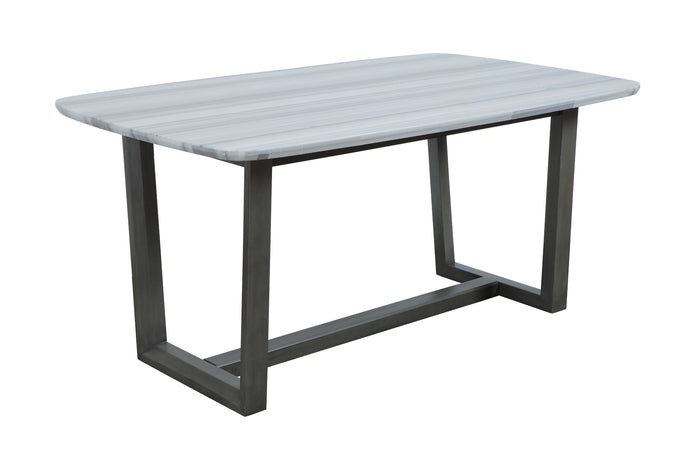 Acme Madan Gray And White Marble Top Finish Dining Table