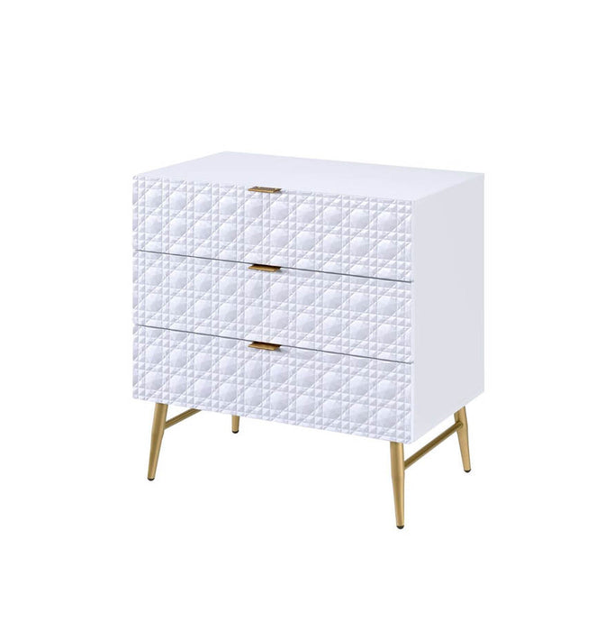 Acme Maisey II White And Gold Wood Finish Chest