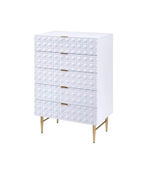 Acme Maisey II White And Gold Glossy Wood Finish Chest