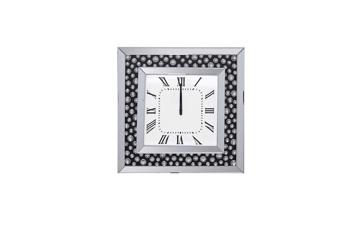 Acme Marku White Mirrored Finish Wall Clock