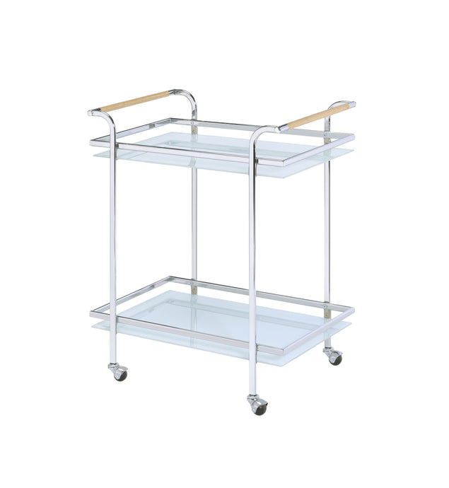 Acme Munro Chrome Metal And Glass Finish Service Cart