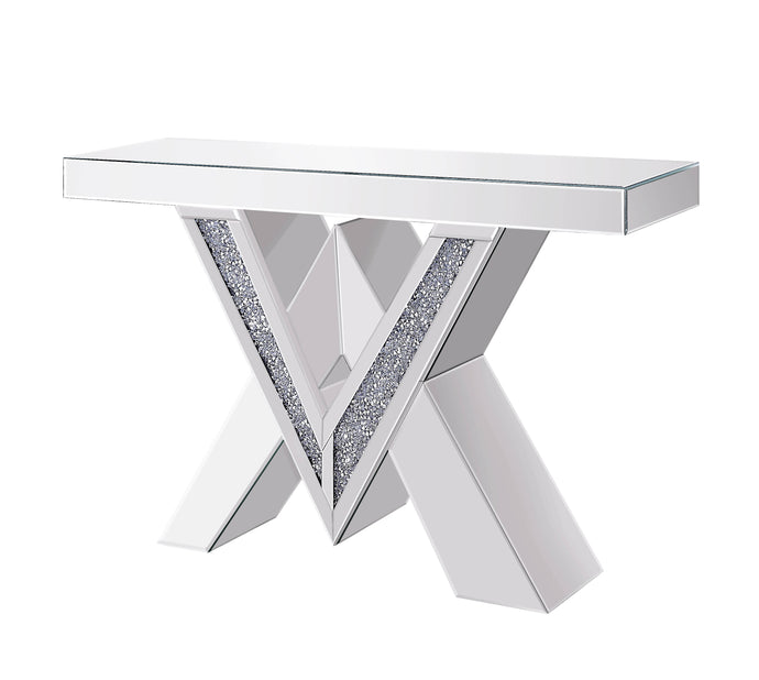 Acme Noralie Mirrored Glass Finish Console Sofa Table