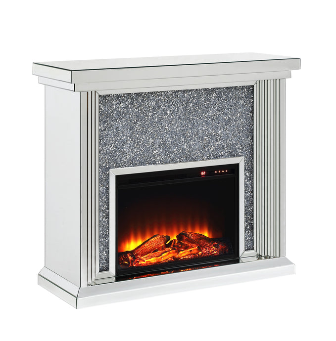 Acme Noralie Mirrored Finish Fireplace