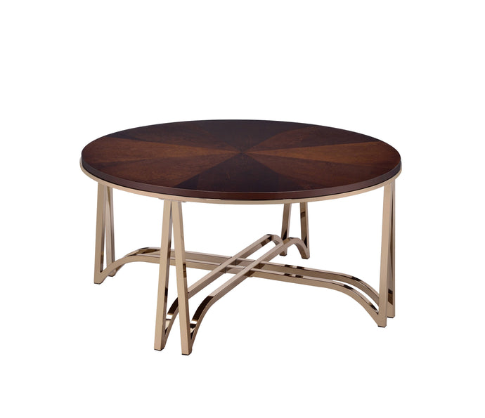 Acme Novus Walnut Wood And Metal Finish Coffee Table