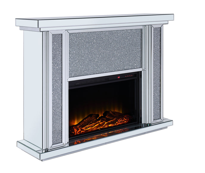 Acme Nowles Mirrored Finish Fireplace