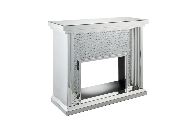 Acme Nysa Mirrored Glass Finish Fireplace