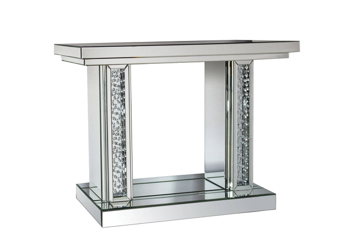 Acme Nysa Glass Mirrored Finish Console Sofa Table