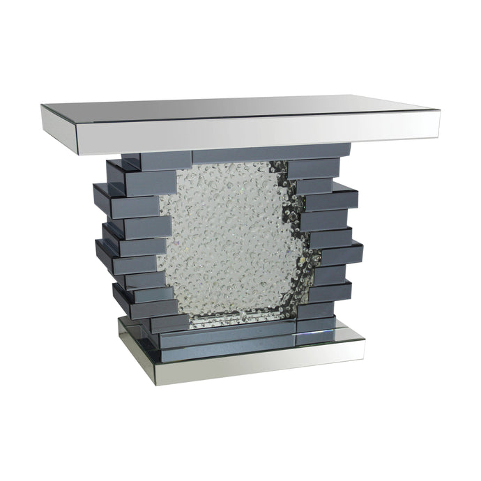 Acme Nysa Mirrored Crystal Finish Consol Sofa Table