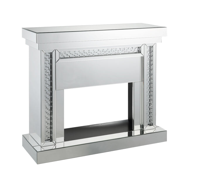 Acme Nysa Mirrored Glass Finish Electric Fireplace