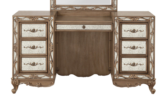 Acme Orianne Antique Gold Wood Finish Vanity Desk