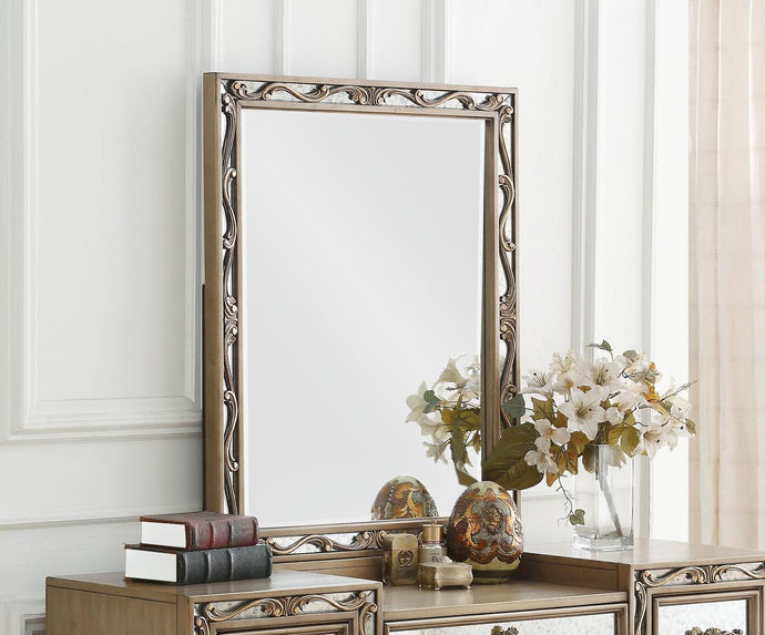 Acme Orianne Antique Gold Wood Finish Vanity Mirror