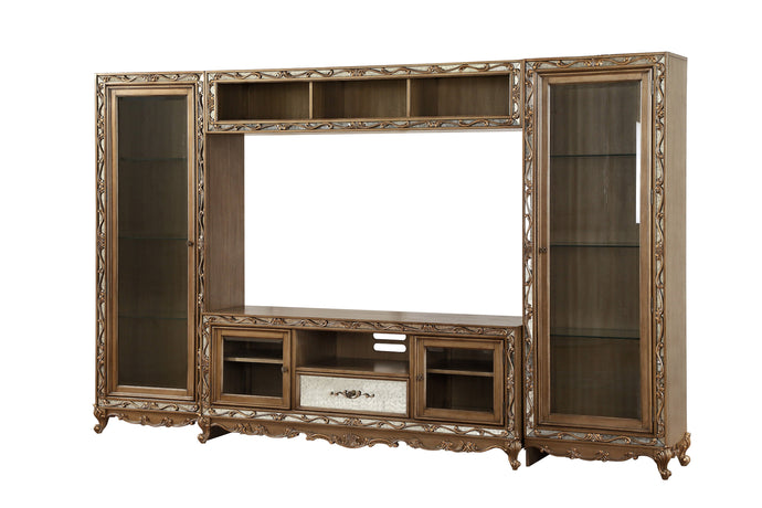 Acme Orianne Antique Gold Wood Finish 3 Piece Entertainment Center