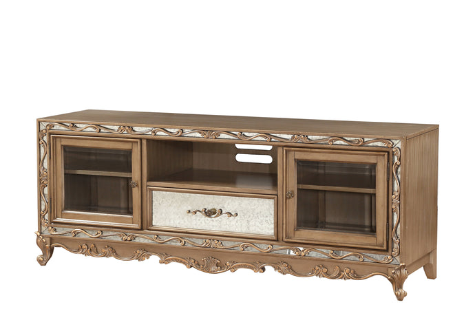 Acme Orianne Antique Gold Wood Finish TV Stand