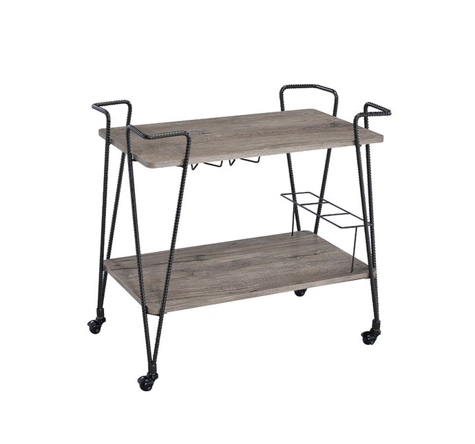 Acme Paulsen Rustic Oak Wood Metal Finish Service Cart